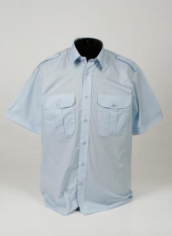 pilotshirt l.blauw korte mouw - vaste epauletten_336_460_100